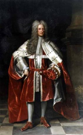 Portrait of Henry, 1st Viscount St. John (1652-1742) in his coronation robes
