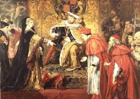 Catherine of Aragon and Henry VIII with Cardinals