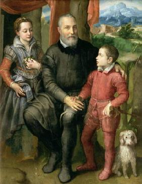 Portrait of the artist's family, Minerva (sister) Amilcare (father) and Asdrubale (brother), 1559