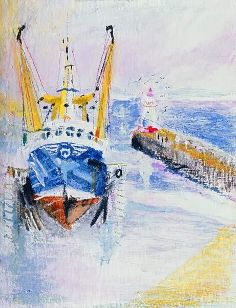 Newlyn, Cornwall, 2005 (oil pastel & acrylic on board)