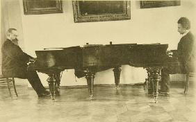 Composers Sergei Taneyev and Alexander Goldenweiser play the piano