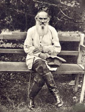 Leo Tolstoy on his 75th birthday. Yasnaya Polyana