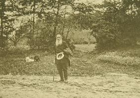Leo Tolstoy walking in Yasnaya Polyana