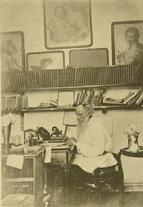 Leo Tolstoy at the work