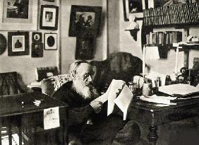 Leo Tolstoy in his studio. Yasnaya Polyana