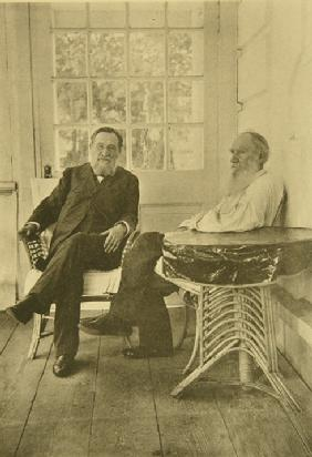 Leo Tolstoy with the microbiologist Ilya Mechnikov (1845-1916)
