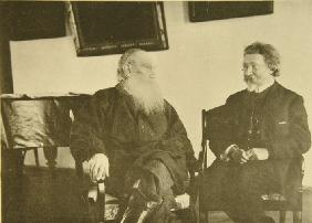Leo Tolstoy with the painter Ilya Repin (1844–1930)