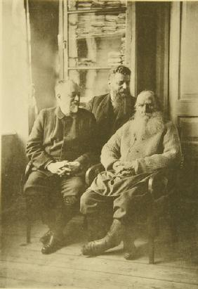 Leo Tolstoy with the politician Mikhail Stakhovich (1861-1923) and the son-in-law Mikhail Sukhotin (