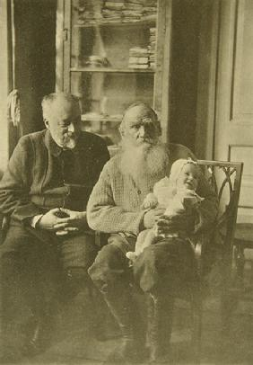 Leo Tolstoy with the son-in-law Mikhail Sukhotin and granddaughter Tatiana