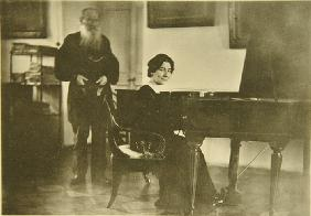 Leo Tolstoy with the harpsichordist Wanda Landowska (1879-1959)