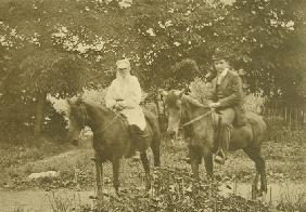 Leo Tolstoy and the sculptor Prince Paolo Troubetzkoy (1866-1938) riding in Yasnaya Polyana