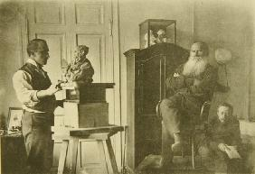 Leo Tolstoy and the sculptor Prince Paolo Troubetzkoy (1866-1938)