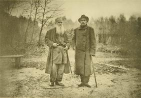 Leo Tolstoy and the author Maxim Gorky (1868-1936)
