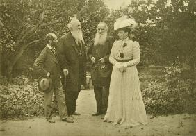 Leo Tolstoy and Sophia Andreevna with Sculptor Eliah Ginsburg (1859-1939) and critic Vladimir Stasov