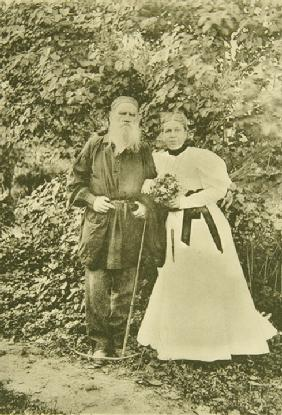 Leo Tolstoy and Sophia Andreevna. Year on their wedding anniversary