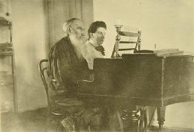 Leo Tolstoy and Daughter Alexandra at the Piano