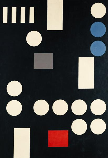 Composition with rectangles and circles on a black canvas.