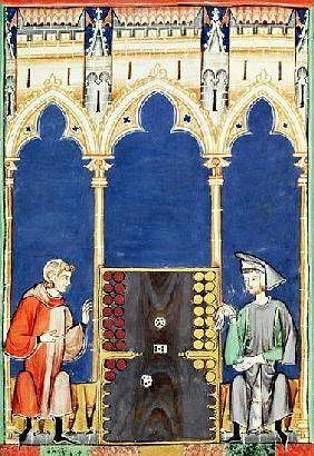 Fol.85v Two Backgammon Players, from the ''Book of Games, Chess, Dice and Boards''