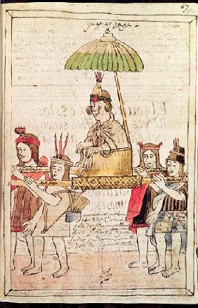 Illustration of Huascar Inca from ''Historia y Genealogia Real de los Reyes Incas del Peru, de sus h