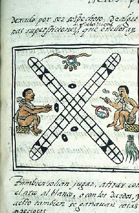 Ms Palat. 218-220 Book IX Aztec men gambling Patoli, from the ''Florentine Codex'' by Bernardino de