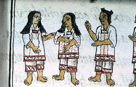 Ms Palat. 218-220 Book IX Female Aztec costumes, from the ''Florentine Codex'' by Bernardino de Saha