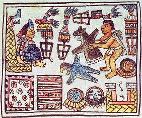 Ms Palat. 218-220 Book IX Montezuma II (1466-1520) receiving tributes, from the ''Florentine Codex''