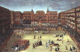 Panorama of a fiesta in the Plaza Mayor in Madrid