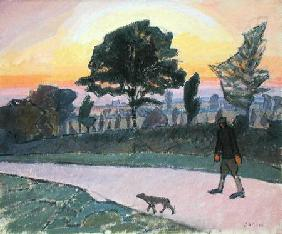 Sunset, Letchworth, with Man and Dog