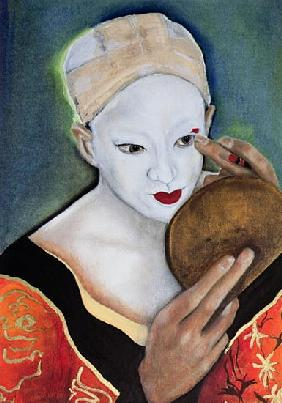 Kabuki, Tamasaburo as Izayoi (oil on canvas)