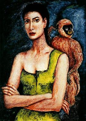 Mrs. Coulter and her Daemon, 2005-06 (pen & ink and oil on paper)