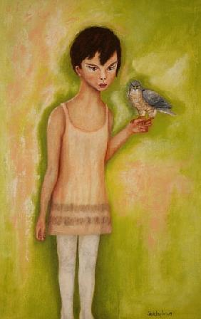 Trust-Girl with a Sparrow Hawk