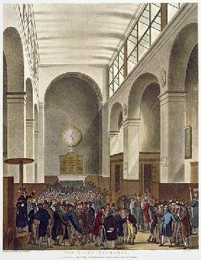 The New Stock Exchange, Bartholomew Lane, from Ackermann''s ''Microcosm of London'', published 1809