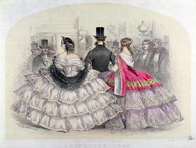 Ladies Wearing Crinolines at the Royal Italian Opera, Covent Garden, 1859 (colour engraving)