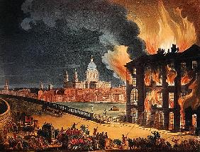 Fire at Albion Mill, Blackfriars Bridge, from Ackermann''s ''Microcosm of London'' c.1808-11