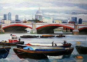 Busy Scene at Blackfriars, 2005 (oil on panel)