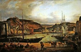 View of the commercial port at Cherbourg
