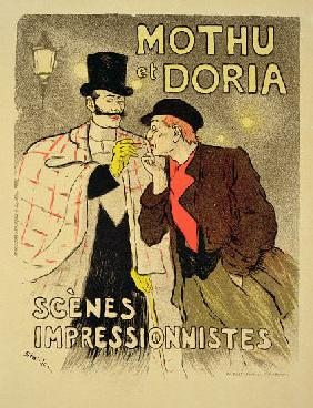 Reproduction of a poster advertising 'Mothu and Doria'in impressionist scenes