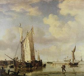 Dutch Vessels Inshore and Men Bathing