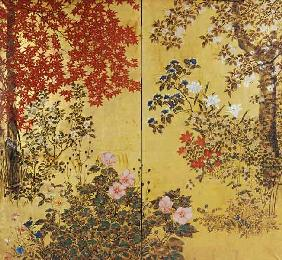 A Two Leaf Japanese Screen On Gold Paper With Maple Branches, Camellias, Hydrangeas, Cherry Flowers,