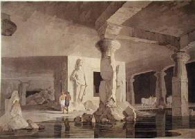 Part of the Temple of the Elephanta, plate VIII from 'Oriental Scenery'