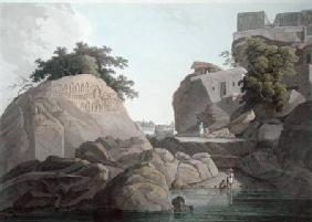 South East View of the Fakeers Rock on the River Ganges, near Sultaungunge, plate X from 'Oriental S