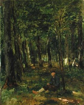 Young Farmer sitting in the Forest