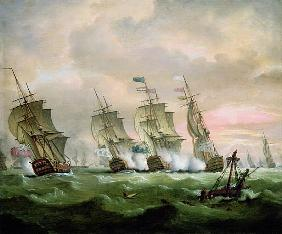 Admiral Sir Edward Hawke defeating Admiral M. de Conflans in the Bay of Biscay