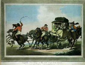 """English Travelling, or The First Stage from Dover"", aquatinted by Francis Jukes (1747-1812), pub. b"