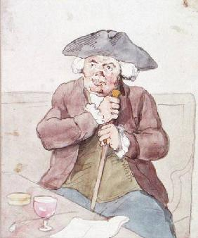 A Man Seated in a Tavern (pen, brown