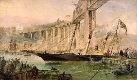 Opening Ceremony of the Royal Albert Bridge, Saltash, with a Paddle Steamer Passing Underneath