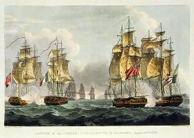 Capture of La Pomone, L'Engageante and La Babet, April 23rd 1794, engraved by Thomas Sutherland for