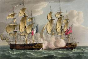 Capture of L'Immortalite, October 20th 1798, from 'The Naval Achievements of Great Britain' by James