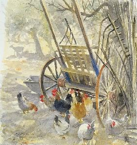 Chickens under Majorcan Cart, 1994 (w/c)