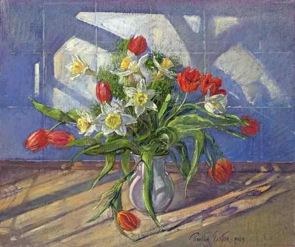 Spring Flowers with Window Reflections, 1994 (oil on canvas)